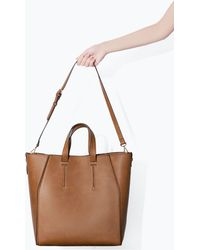 Zara Brown Shopper Basket - Lyst