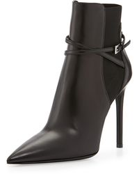 Prada Pointed Stretch Ankle Strap Bootie - Lyst