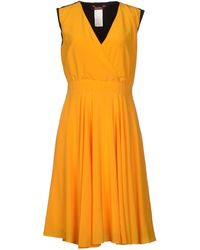 Max Mara Studio Yellow Knee-Length Dress - Lyst