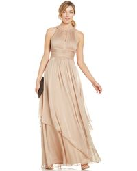 Adrianna Papell Embellished Pleated Chiffon Halter Gown - Lyst