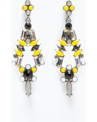 Zara Shiny Stones Earrings - Lyst