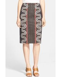 Tory Burch Embroidered Crepe Pencil Skirt - Lyst