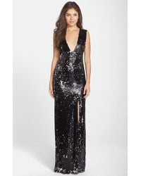 Rachel Zoe 'Venus' Sequin V-Neck Column Gown black - Lyst