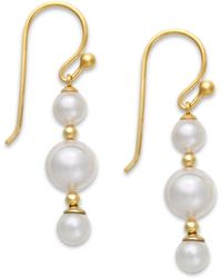 Majorica 18k Gold Vermeil Over Sterling Silver Organic Man-made Pearl Linear Drop Earrings - Lyst