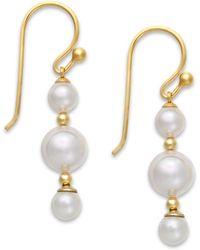 Majorica 18k Gold Vermeil Over Sterling Silver Organic Man-made Pearl Linear Drop Earrings - Lyst