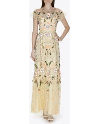 Needle & Thread - - Embellished Tulle Maxi Dress - Pastel Yellow - Lyst