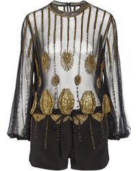 Sass & Bide Zero in Embellished Tulle and Faille Playsuit - Lyst