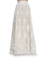 Alice + Olivia Carter Flared Embroidered Ball Skirt - Lyst