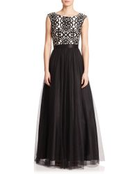 Aidan Mattox Embroidered-Bodice Mesh Ball Gown black - Lyst