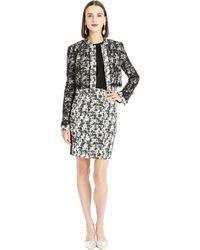 Oscar de la Renta Marbled Tweed & Chantilly Lace Cropped Jacket - Lyst