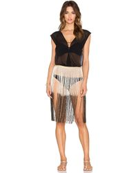 Queen & Pawn - Silk Metallic Fringed Cover Up - Lyst