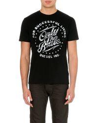 Diesel T-balder Cotton-jersey T-shirt Black - Lyst