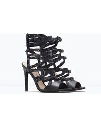 Zara Black Leather High Heel Gladiator Sandals. - Lyst