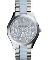 Michael Kors Ladies Stainless Steel Glitz Slim Runway Watch - Lyst