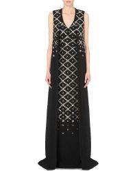 Antonio Berardi Embellished Stretch-Cady Cape-Overlay Gown black - Lyst