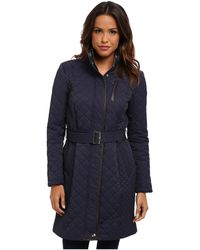 Cole Haan Diamond Quilted Belted Coat - Lyst