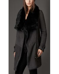 Burberry Oversize Collar Shearling Coat - Lyst
