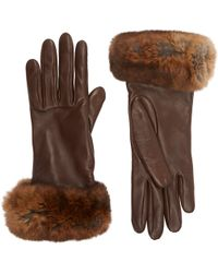 Barneys New York Brown Fur-Cuff Gloves - Lyst