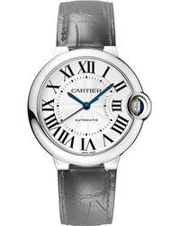 Cartier Ballon Bleu De Stainless Steel And Leather Watch - For Men silver - Lyst