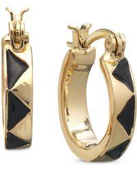 House Of Harlow 1960 Gold-Tone And Black Enamel Huggie Hoop Earrings - Lyst