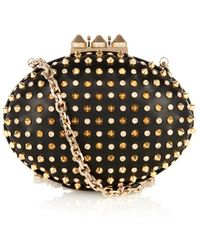 Christian Louboutin Mina Stud and Crystal Leather Clutch black - Lyst