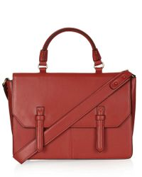 Topshop Womens Large Faux Leather Cleancut Satchel Red - Lyst