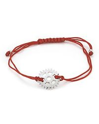 Mateo Bijoux - Mechnical Wheel Bracelet On Red Nylon Cord / White Rhodium - Lyst