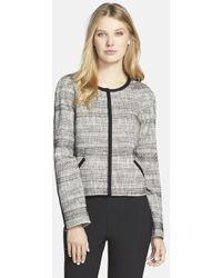 Hugo Boss 'Jalomi' Collarless Tweed Jacket - Lyst