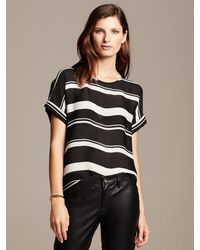 Banana Republic Multi Stripe Draped Top Black - Lyst