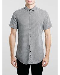 Topman Mono Dogstooth Longline Short Sleeve Shirt - Lyst