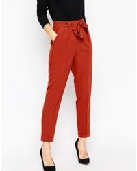 ASOS | Woven Peg Trousers With Obi Tie | Lyst