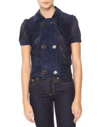 RED Valentino Perforated Goatskin Suede Jacket - Lyst
