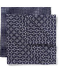 Derek Rose Twopack Printed Cotton Handkerchiefs - Blue