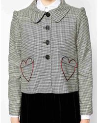 Love Moschino Collared Checked Jacket with Heart Pockets - Lyst