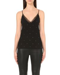 The Kooples - Lace-trimmed Crepe Camisole - Lyst
