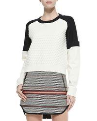 Rag & Bone Kelsie Textured Dropped-sleeve Sweatshirt - Lyst