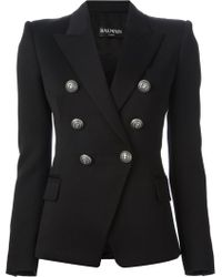 Balmain Double Breasted Blazer - Lyst