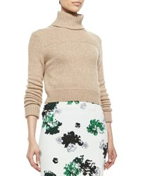 A.L.C. Tevin Cropped Turtleneck Sweater Camel Large - Lyst