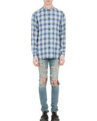 Saint Laurent Blue Plaid Shirt - Lyst