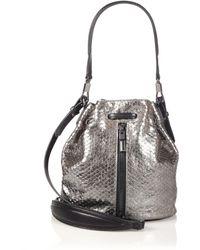 Elizabeth And James Cynnie Mini Metallic Python-Embossed Bucket Bag - Lyst