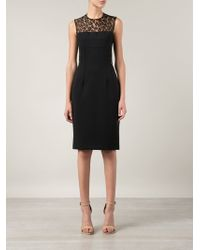 Alexander McQueen Lace Panel Cocktail Dress - Lyst