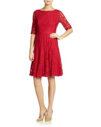 Adrianna Papell Allover Lace Dress - Lyst