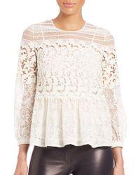 Burberry Prorsum | Lace Macrame Ruffle Top | Lyst