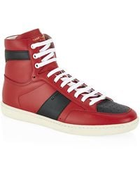 Saint Laurent Sl/10H Leather High Top Sneakers - Lyst