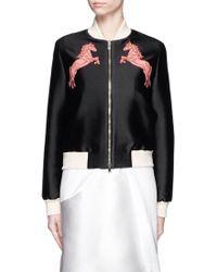 Stella McCartney | 'elgin' Horse Embroidery Cotton-silk Bomber Jacket | Lyst