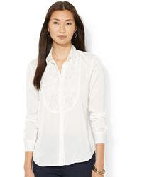 Lauren by Ralph Lauren Petite Lace-trim Tuxedo Shirt - Lyst