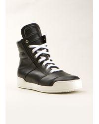 Balmain Black Leather High Sneakers - Lyst