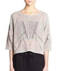 Helmut Lang Open-Knit Dolman-Sleeved Top beige - Lyst