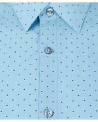 Paul Smith Light Blue Dot Patterned Cotton Shirt - Lyst