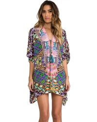 Camilla Mycenaean Short Lace Up Kaftan in Purple - Lyst
